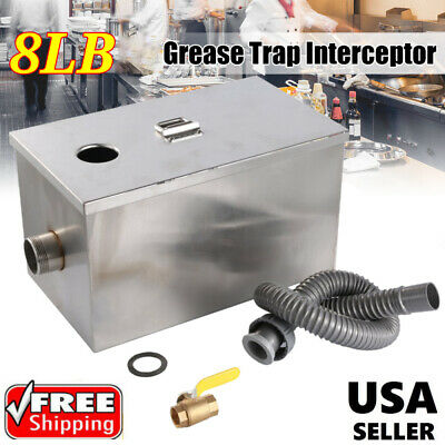 NEW 8LB 5GPM Commercial Grease Trap Stainless Steel Interceptor Filter WF
