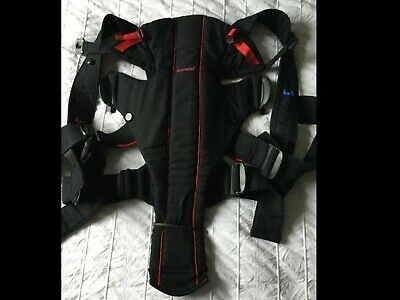 USED 3 Times Baby Bjorn Active Baby Carrier Sling  W Lumber Support  Black Red