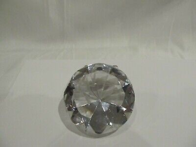 "Large Cut Diamond Shaped Crystal Clear Prism Approx 3"" Paperweight"
