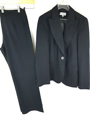 Ladies Marks and Spencers Black Trouser suit UK 12 trousers UK 12L M&S Good B12