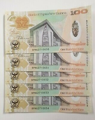 Papua new guinea 100 kina , 2008 comm banknotes - 5 off  amost unc - lot 61
