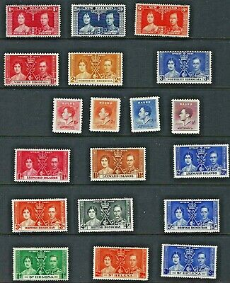 (2770) Stamps British Colonies 1937 19 Diff. Mint Coronation Issue