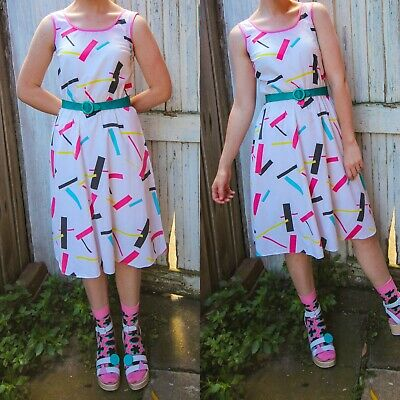 80s Dress, 1980s, abstract, size 10 ,Size 8, vintage, retro