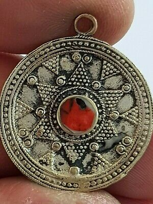 Late Medieval Silvered Pendant Amulet Rare Stone Intaglio 3,6 Gr 29 Mm