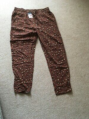 Ladies Size16 Loose Summer Trousers/ Primark/ Leopard Print