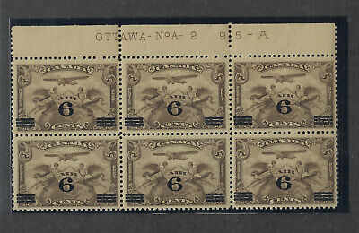 Canada Scott # C3 Plate Block of 6 VF OG NH Air Mail Stamps