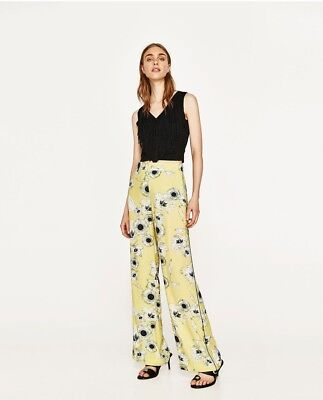 Zara Floral Print Loose Fit Palazzo Trousers Size L (12) Ref 2923 158
