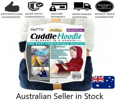 Cuddle Hoodie. Blanket in a Hoodie - (Indigo Blue) -Reversable One Size Fits All