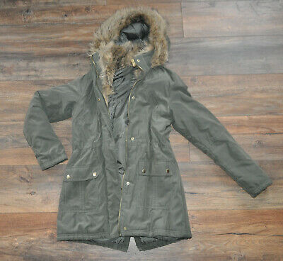 New Look 915 Generation Girl's Parka Jacket Khaki Fur Winter 12-13 Years