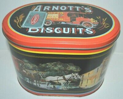 Vintage 1980's Arnott's Biscuits Tin Oval Shape Pictures of Old Delivery Vehicle