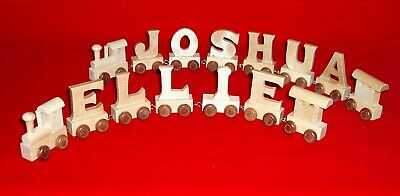 WOODEN NAME TRAIN personalised 3-11 LETTERS alphabet toy ABC pre-school nursery