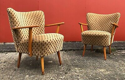 Pair Mid Century Vintage German Armchairs / Cocktail Chairs With Arms
