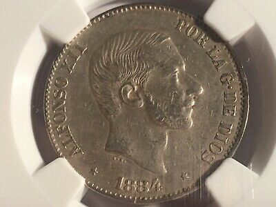 PHILIPPINES Spain 1884 Alfonso FiftyCentavos NGC XF 45 Choice Extremely Fine Rar