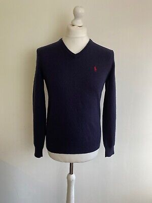 POLO by RALPH LAUREN Lambswool V Neck Jumper Sweater M / 38 Navy Blue