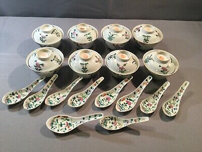 Set of 8 antique chinese porcelain rice bowls Lids And 10 Spoons