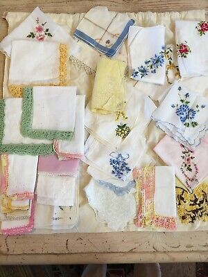 Lot Of 25 Vintage Hankies---Embroidered--Crochet-Lace Edge & More