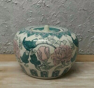 Antique Oriental Asian Chinese Large Porcelain Vase/ Jar with Lid - Hand Painted