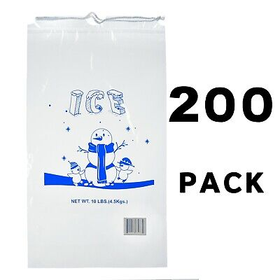 Alpine Industries 10 lb Commercial Ice Bag with Cotton Drawstring, 200 Pack