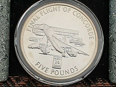 Final Flight Of Concorde Silver £5  coin Gibraltar 2006 Encapsulated. 925 Silver