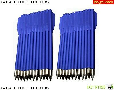 24 Archery Pistol Crossbow Bolts Steel Tips Nylon Shafts For 50-80lb Bows Blue