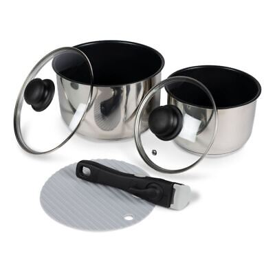 Kampa Munch Cook Set 4x Saucepans 1x Frying Pan Lightweight Non-stick Aluminium