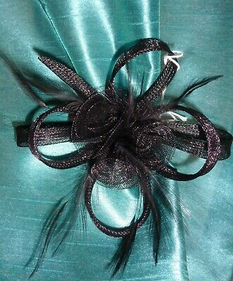 New Black Hair Fascinator Flower Feathers. Party Wedding Goth Steam Punk