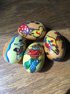 Vintage Lot Hand Painted Hand Carved Wooden Easter Eggs