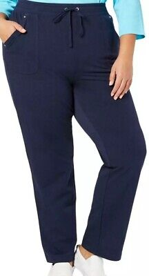 Karen Scott Sports Womens Navy French Terry Pants Athletic Plus 2X NWT $54 Blue