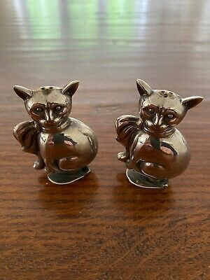 Antique Silver Plated early 20th Century Cats Cruet Set 5.5cm tall