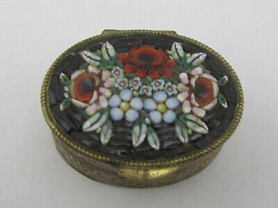 Vintage Micro Mosaic Brass Floral Brass Trinket Pill Box Made in Italy