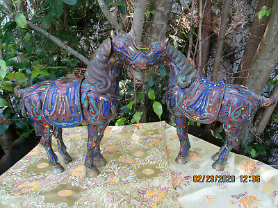 Pair Of Antique Chinese Cloisonne Horse Statue~Incense Burners Circa 1890's