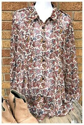 Simply Noelle Red Navy Gold Paisley Sheer Baby Doll Pleated Chiffon Top L/XL New