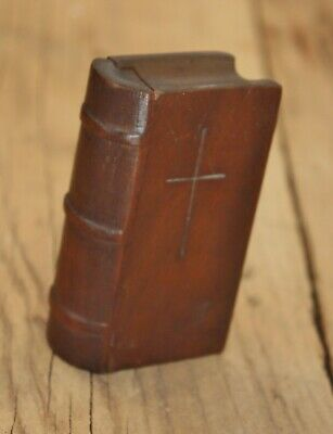 19th Century CARVED WOODEN BOOK BOX as a BIBLE Naive Folkart Snuff !.