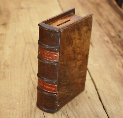 RARE 19th Century CARVED WOODEN BOOK  SAFE for CHARITY  C.1860