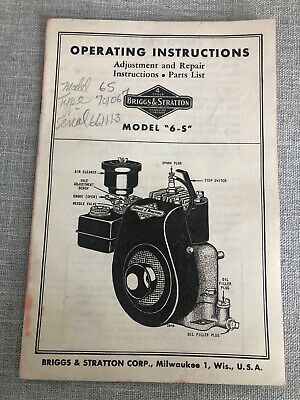 Briggs And Stratton 6-S Engine Operators Repair Parts Service Owners Manual