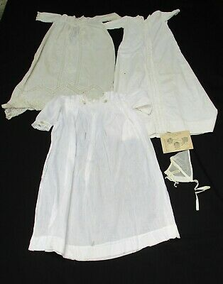 2 Antique Infant Christening Gowns + Bonnet & One Antique Child's Gown Used