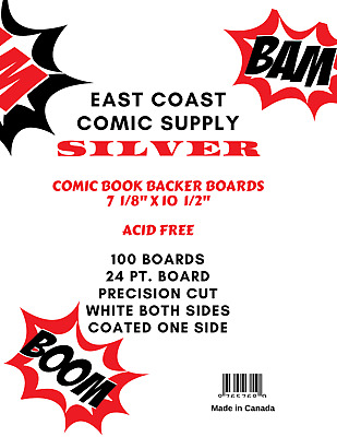 "Comic Book Backer Boards Silver/Regular (7"" X 10 1/2"") 100 boards"