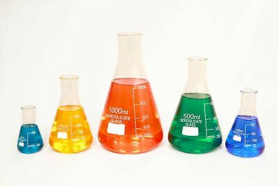 Glass Erlenmeyer Flask Set of 5 Borosilicate Thick Low Form - 50ml, 150ml, 25...