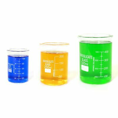 Sciencent Borosilicate Glass Low Form Glass Beaker, 100/250/500 (Pack of 3)