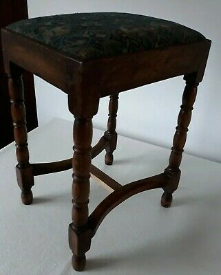 Antique Mahogany Wood & Tapestry Top Piano/Dressing Stool Pretty Carved Legs Gc