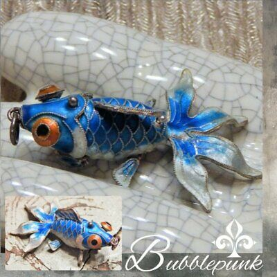 Antique Vintage Chinese Export Cloisonne Enamel Articulated Koi Fish Pendant