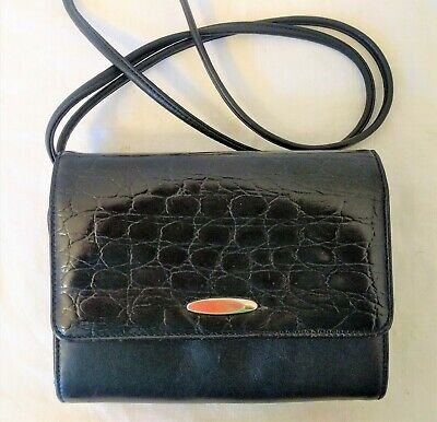 Black Genuine Leather Small Organizer Clutch Messenger EXCELLENT