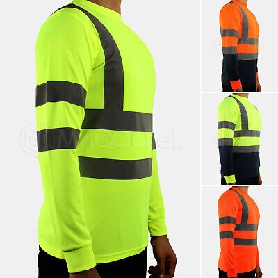 Hi Vis T Shirt High Visibility Long Sleeve Reflective Tape Security Work Tee