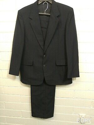 Men TownCraft SUIT JACKET/PANTS Size 44R Tailored in USA blue pinstriped