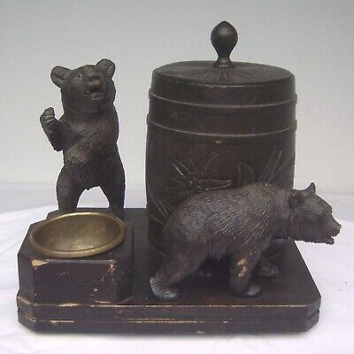 Vintage Black Forest Carved 2 Bear Musical Tobacco Stand w/ Ashtray Match Holder