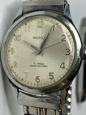 Vtg Men's Westclox 17 Jewels Silver Tone Watch Wristwatch