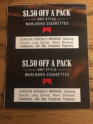 2 Marlboro Cigarettes $1.50 Off A Pack Coupons
