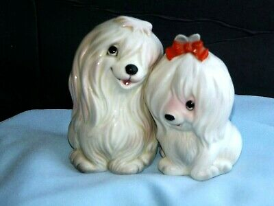 ADORABLE Vintage Lefton LONG WHITE HAIR MALTESE Boy Girl CERAMIC Salt Shakers