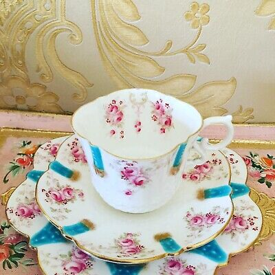 Antique Aynsley Fine Bone China Trio Teacup And Saucer Plate Teaset Handpainted