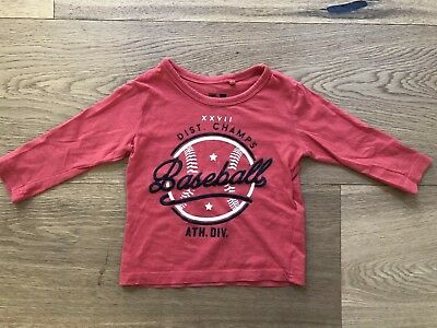 Cotton On Baby Cotton Red Baseball Long Sleeve Top Size 1